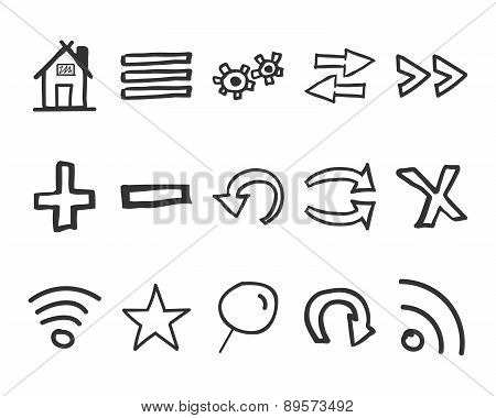 Set of hand drawn web icons and logo, internet browser elements. Sketch, doodle stylish and unusual