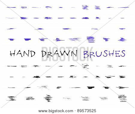 Set of hand drawn,doodle, sketched grunge brushes. Abstract hand drawn ink, felt pen strokes for dra