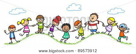 group of happy children holding hands in nature on some hills
