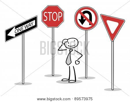 Confused man standing between many different traffic signs
