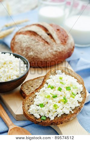 Healthy Breakfast With Whole Grain Rye Bread, Cottage Cheese And Milk