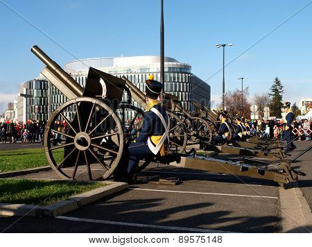 The battery of artillery.