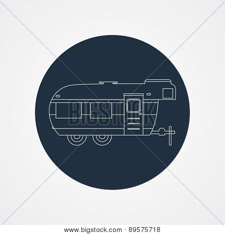 Rv Camping Icon Logo And Badge. Caravan On Dark Button In Flat Line Design. Motorhome Lifestyle. Iso