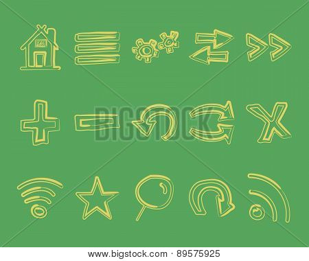 Hand Drawn Web Icons And Logo, Arrows, Internet Browser Elements Set. Sketch, Doodle Style. Unusual