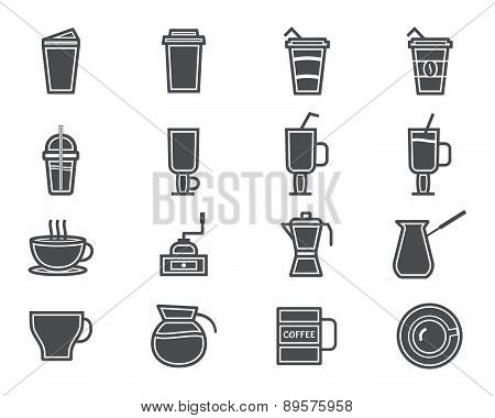 Coffee And Cocktails Silhouette Elements And Symbol Line Icon Isolated On White Background. Can Be U
