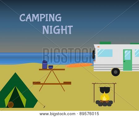 Vintage Camping Night Concept. Retro Caravan, Motorhome, Rv On The Beach, Summer Vacation, And Holid