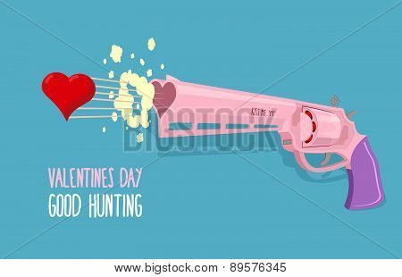 Arms of love. Gun shoots hearts. Valentines day. Good hunting. Vector illustration