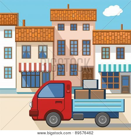 A Small Truck In The City .eps