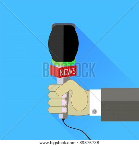 Reporter Holding a Microphone