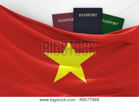 Travel and tourism in Vietnam, with assorted passports