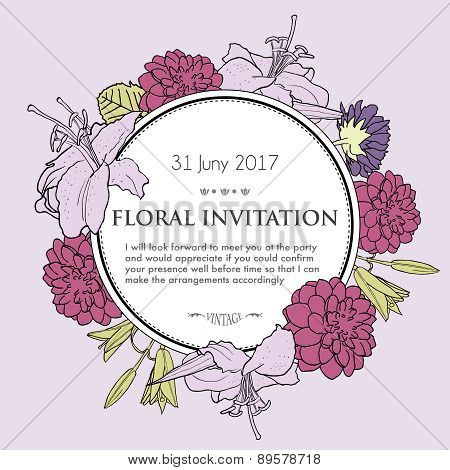 Vector Hand Drawn Illustration Of Romantic Floral Background.