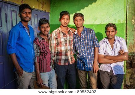 KAMALAPURAM, INDIA - 02 FEBRUARY 2015: Indian young men in a town close to Hampi