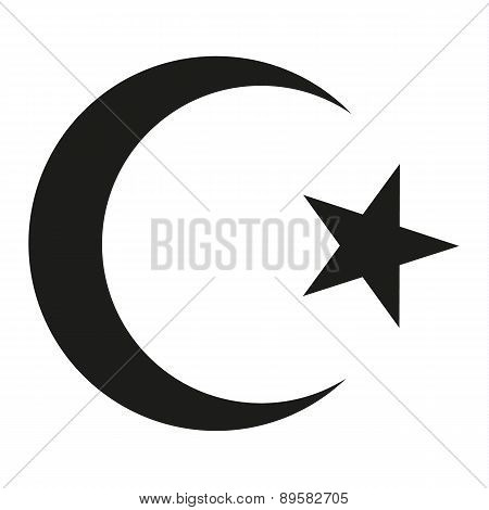 Isolated Symbol For Crescent And Star