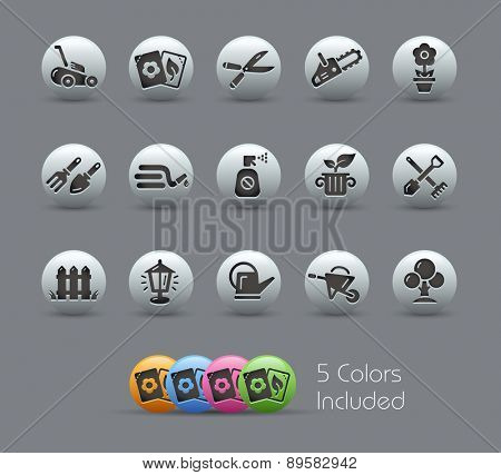 Gardening Icons. Pearly Series. It includes 5 color versions for each icon in different layers.