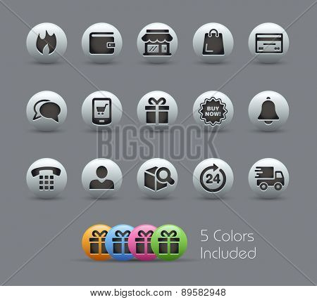 E-Shop Icons. Pearly Series. It includes 5 color versions for each icon in different layers.