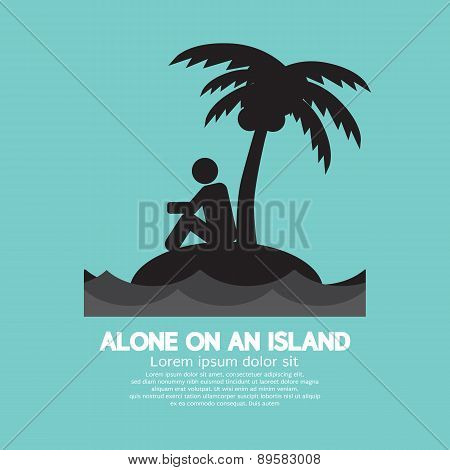 Alone On An Island Black Symbol.
