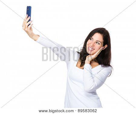 Caucasian woman talk selfie