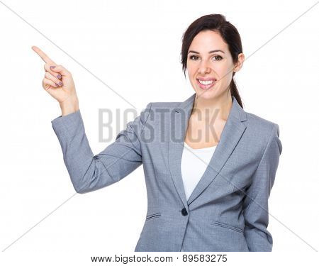 Businesswoman finger up