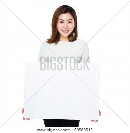 Asian woman show with placard