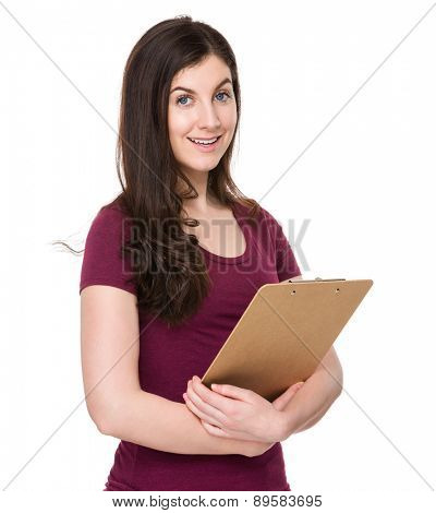 Caucasian woman hold with clipboard