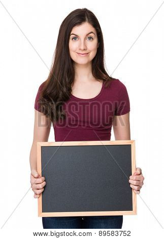 Caucasian woman show with blackboard