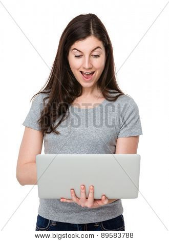 Brunette woman use of laptop