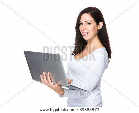 Caucasian woman use of laptop computer
