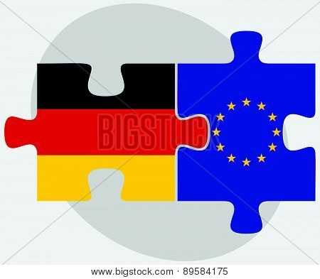 Germany And European Union Flags In Puzzle