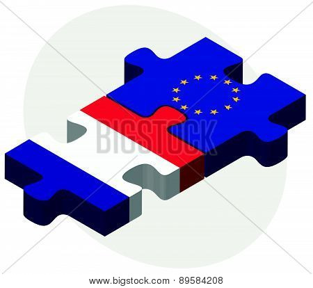 France And European Union Flags In Puzzle