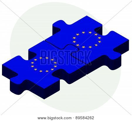 European Union And European Union Flags In Puzzle