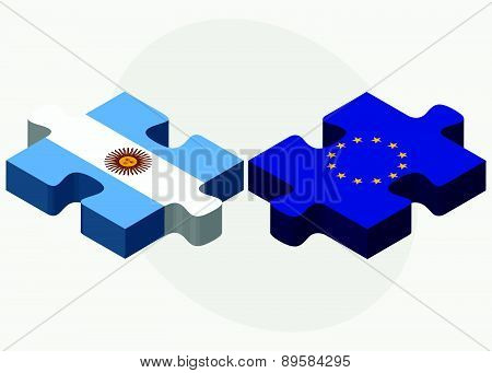 Argentina And European Union Flags In Puzzle