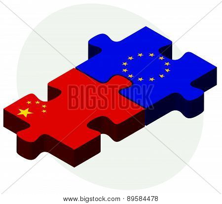 China And European Union Flags In Puzzle