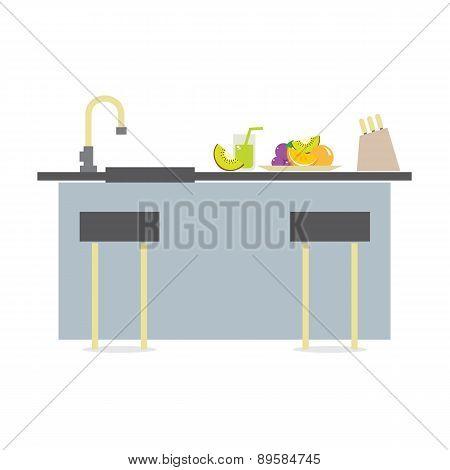 Flat Design Island Kitchen Interior Design.