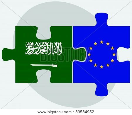 Saudi Arabia And European Union Flags In Puzzle