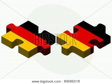 Germany And Germany Flags In Puzzle Isolated