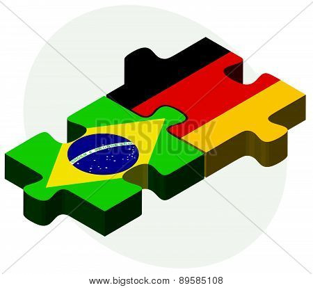 Brazil And Germany Flags In Puzzle