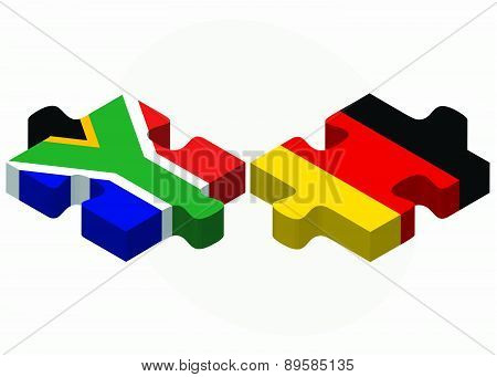 South Africa And Germany Flags In Puzzle