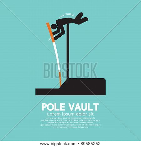 Pole Vault Athletes Graphic Symbol.
