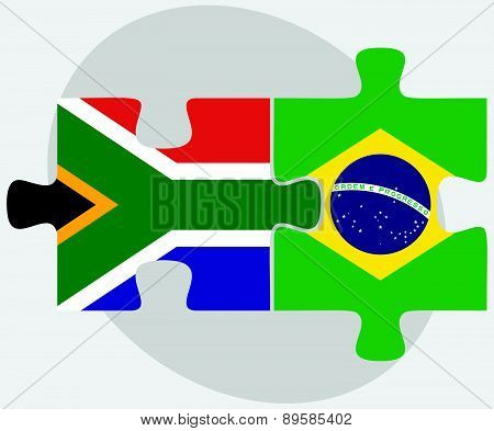 South Africa And Brazil Flags In Puzzle