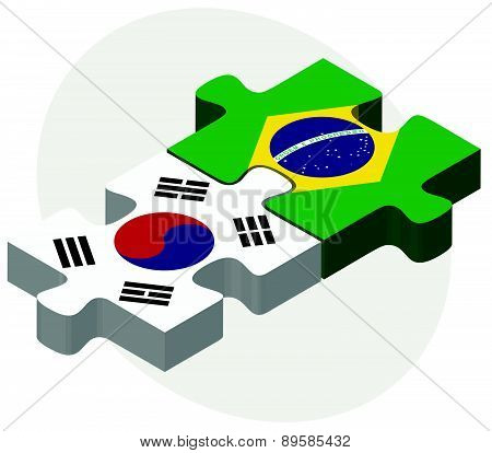 South Korea And Brazil Flags In Puzzle