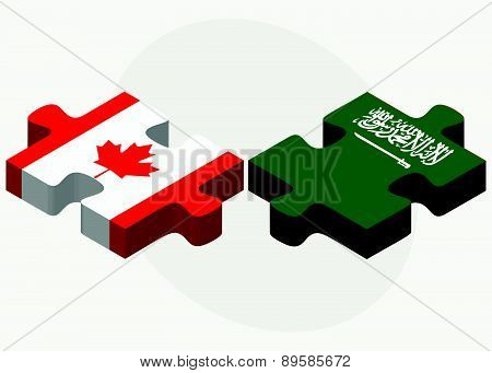 Canada And Saudi Arabia Flags In Puzzle