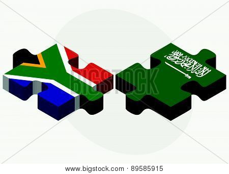 South Africa And Saudi Arabia Flags In Puzzle