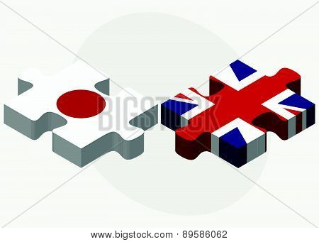 Japan And United Kingdom Flags In Puzzle Isolated On White Background