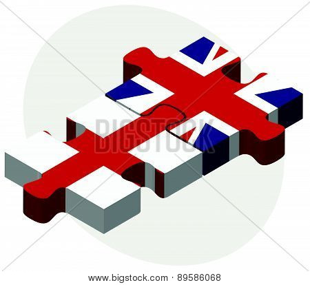England And United Kingdom Flags In Puzzle