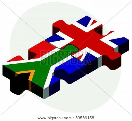 South Africa And United Kingdom Flags In Puzzle