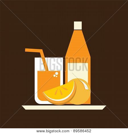 Glasses  Of Orange Juice And Bottle On Serving Tray.