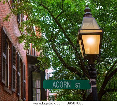 Acorn street Beacon Hill cobblestone Boston in Massachusetts USA