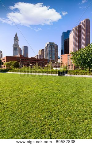 Boston North End Park and slkyline in Massachusetts USA