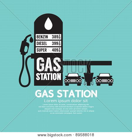 Gas Station Service Black Graphic.