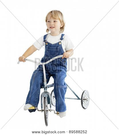 boy on tricycle vintage bike isolated on white